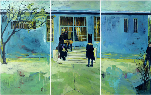 Fariba Farghadani School 2015 Triptychon 240x155cm Oil on canvas Chetori  philomena Photo Credit the artist